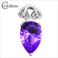 CoLife Jewelry elegant amethyst necklace pendant 10 mm * 14 mm 6 ct natural amethyst pendant solid 925 silver amethyst pendant
