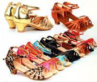The 2017 New Brand PU Satin Latin Dance Shoes Ladies Girls Women Low Heel Ballroom Tango