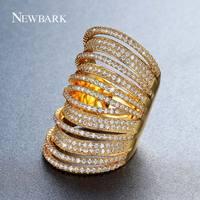 NEWBARK Nuevo Diseño Del Estilo de Bohemia Tiny CZ Pavimenta el Anillo Grande de Oro Del Partido multicolor Multilayer Mujeres Bague Anillos de Dedo de Ancho regalo