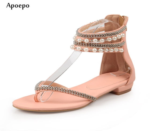92513e45beb New Fashion Sequins Beaded Flat Sandal for Woman 2018 Summer Sexy Ankle  Strap Gladiator Shoes Rome Style Flip-flop Pink White