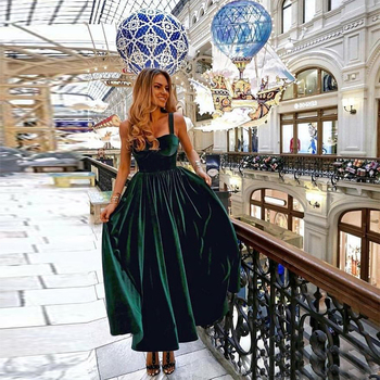 Tea Length Dark Green Prom Dresses Spaghetti Straps Vestido De Festa Simple Formal Party Gowns Special Occasion Prom Gowns 2