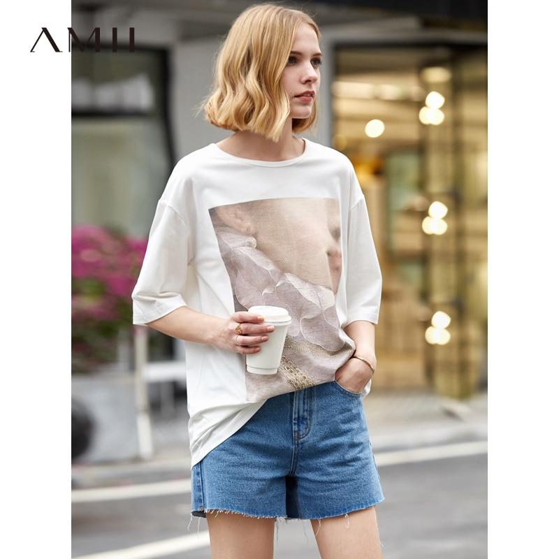 Amii Минималистичная женская футболка весна лето 2019 Новинка твердая о образный вырез свободный принт уличная женская футболка