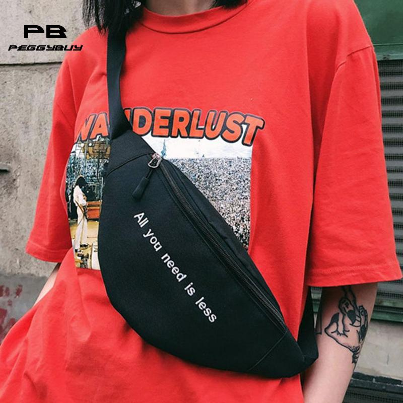 Canvas Harajuku Style Waist Bag for Women Men Unisex Fanny Pack Chest Packs Money Belt Buik Tasje Belly Bags Purse Chic Pouch chic mid waist button design ripped denim shorts for women