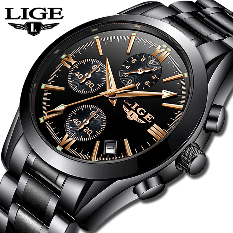LIGE Mens Watches Top Brand Luxury Fashion Business Quartz Watch Men Sports Full Steel Waterproof Black
