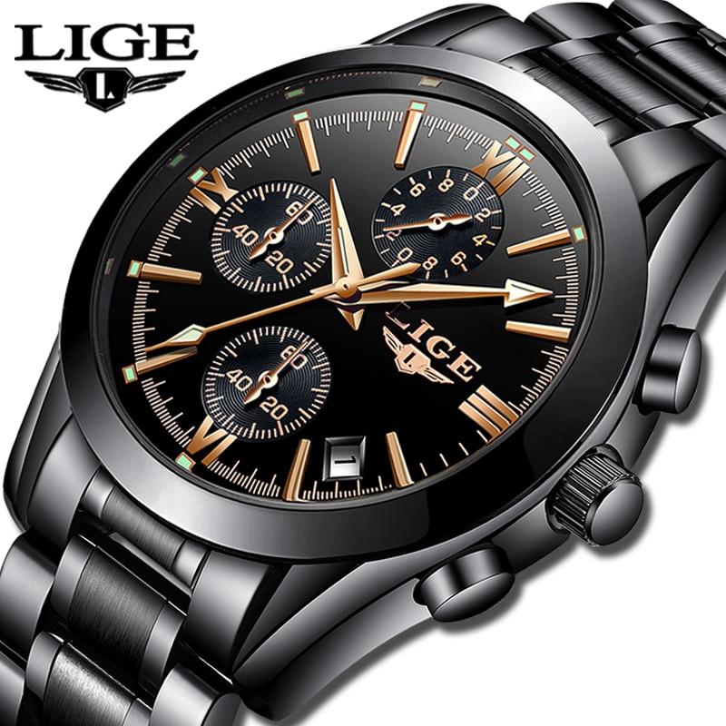 LIGE Mens Watches Top Brand Luxury Fashion Business Quartz Watch Men Sports Full Steel Waterproof Black Clock Relogio Masculino
