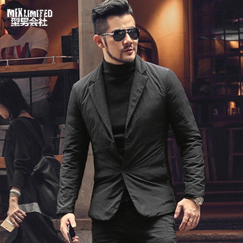 New Design Winter Warm Comfortable Men's Black Causal Down Suit Men Brand Down Single Breasted European Style Suit Blazer WF907