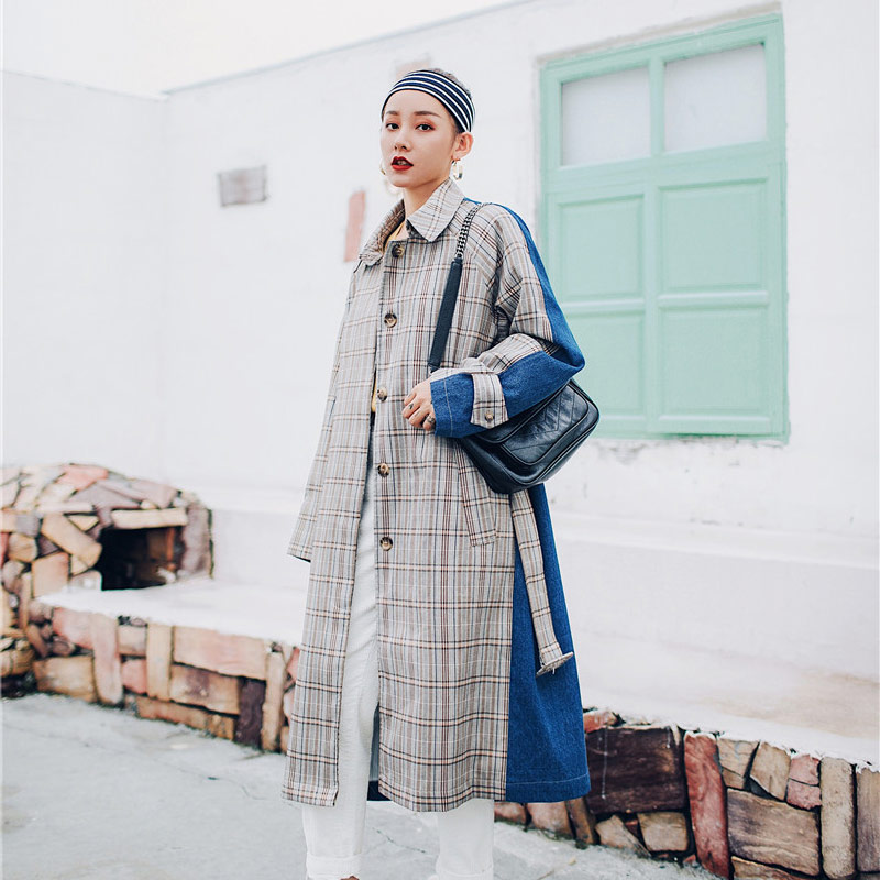 2019 Spring Casual Plaid Trench Coat Women Long Loose Trench Coat Splicing Denim Retro Windwear Defined