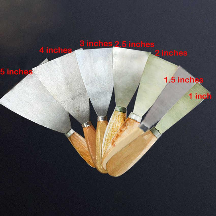 "1"" 1.5"" 2"" 2.5"" 3"" 4"" 5""Putty Knife Scraper Blade Scraper Shovel Carbon Steel Wooden Handle Wall Plastering Knife Hand Tools New"