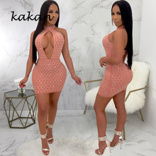 Kakan summer new womens sexy sequin dress white pink black hanging neck openwork club party