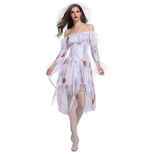 COSMORE Halloween Festival Ghost Women's Adult Dress White Gloves Zombie Play Costume