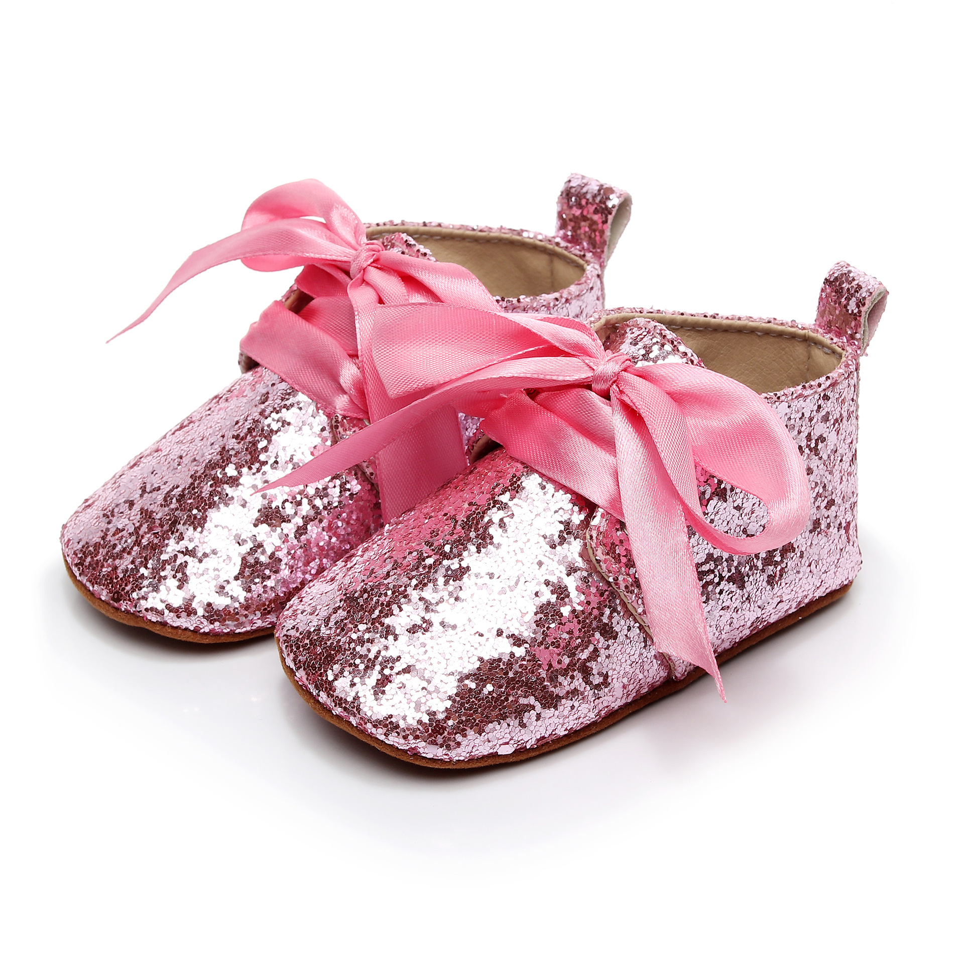 2018 A New European and American Explosion Lace Childrens Shoes Fashion Bling Baby Moccasins First Walkers