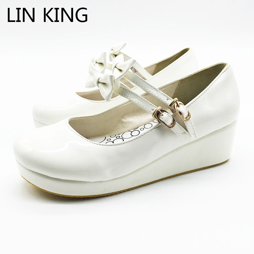 LIN KING Plus Size Fashion Wedges Women Pumps Solid Sweet Bowknot Lolita Shoes Summer Mary Janes Cosplay Party Platform