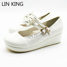Купить с кэшбэком LIN KING Plus Size Fashion Wedges Women Pumps Solid Sweet Bowknot Lolita Shoes Summer Mary Janes Cosplay Party Platform Shoes