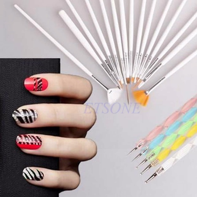 20pcs Nail Art Design Brushes Set Dotting Painting Drawing Polish ...