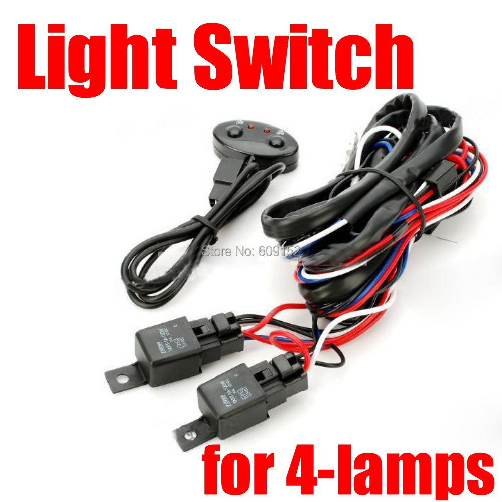For 4 Lamps 12v 260w 2x40a Car Light Control On Off Lamp Switch Wiring Relay Harness Cable Dual Fuse Hid Led Bar In Wire From Automobiles