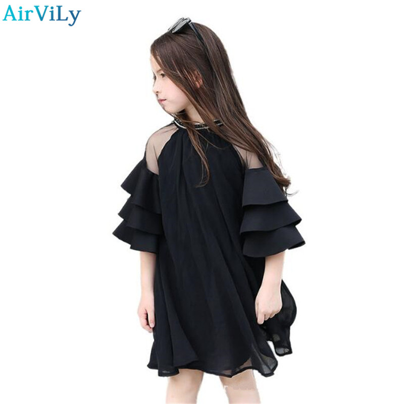 2018 Summer Half Sleeve Girls Party Dress O-Neck Children Clothes Kids Lace Net Yarn Princess Dress For Teens 5 7 9 11 13 15 original brand lalaloopsy dress yarn design false two dumbo sleeve queen girls party striped dress school girls princess dress