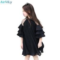 2018 Summer Half Sleeve Girls Party Dress O Neck Children Clothes Kids Lace Net Yarn Princess Dress For Teens 5 7 9 11 13 15
