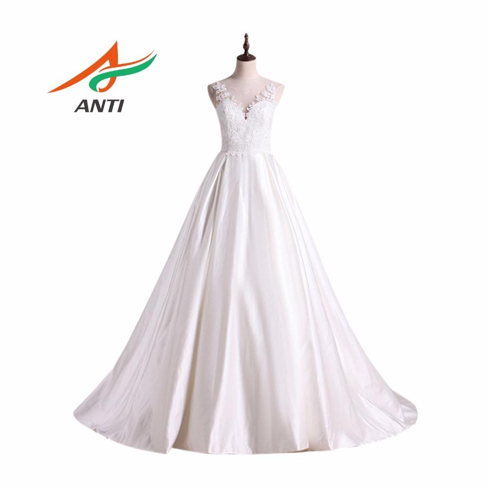 ANTI Alta calidad A-Line vestidos de novia 2018 Robe De Mariage vestidos de novia Vestido De Noiva Curto por encargo longitud del piso