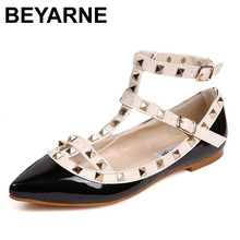 New rivet pointed toe women color block patent leather gladiator flats sexy stud women ballet flat shoes brand flats
