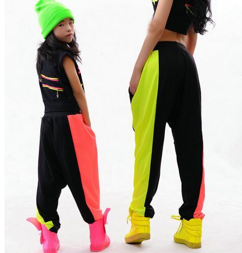 New fashion Brand Kids Adults Harem Hip Hop Dance Pants Sweatpants Performance Costumes female stage wear Neon Jazz trousers