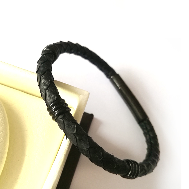 aa85c009ae3 Beichong White Black 5mm Genuine Python Skin leather with Gold Stainless  Steel Clasp Buckle Bracelet Bangle for Men Women -in Hologram Bracelets  from ...