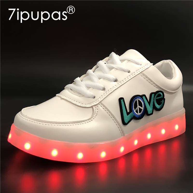 7ipupas EUR 30-44 Loves USB kids Luminous Sneakers glowing sneakers for girls women boys men Colorful LED lights Children Shoes
