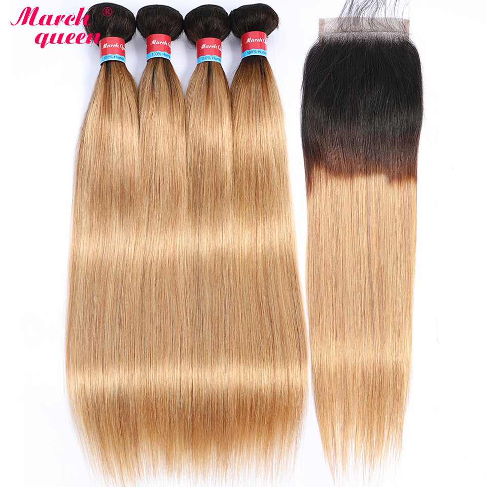 marchqueen Ombre Brazilian Straight hair 4 Bundles With Closure Pre Colored T1B 27 Human Hair Weave