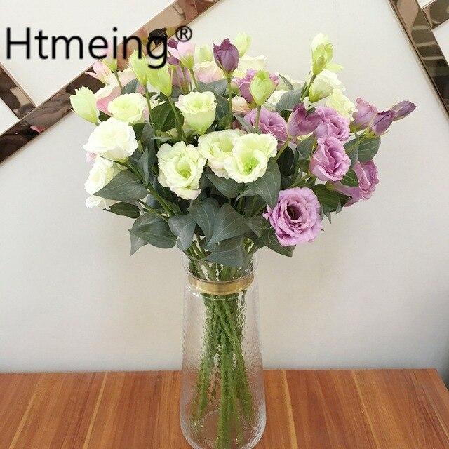 3 Têtes lisianthus artificielle fleur rose bouquet jardin flovers ...
