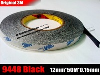 12mm Wide 50M Long 3M Double Sided Adhesive Black Ribbon Tape For Iphone Ipad Galaxy Huawei