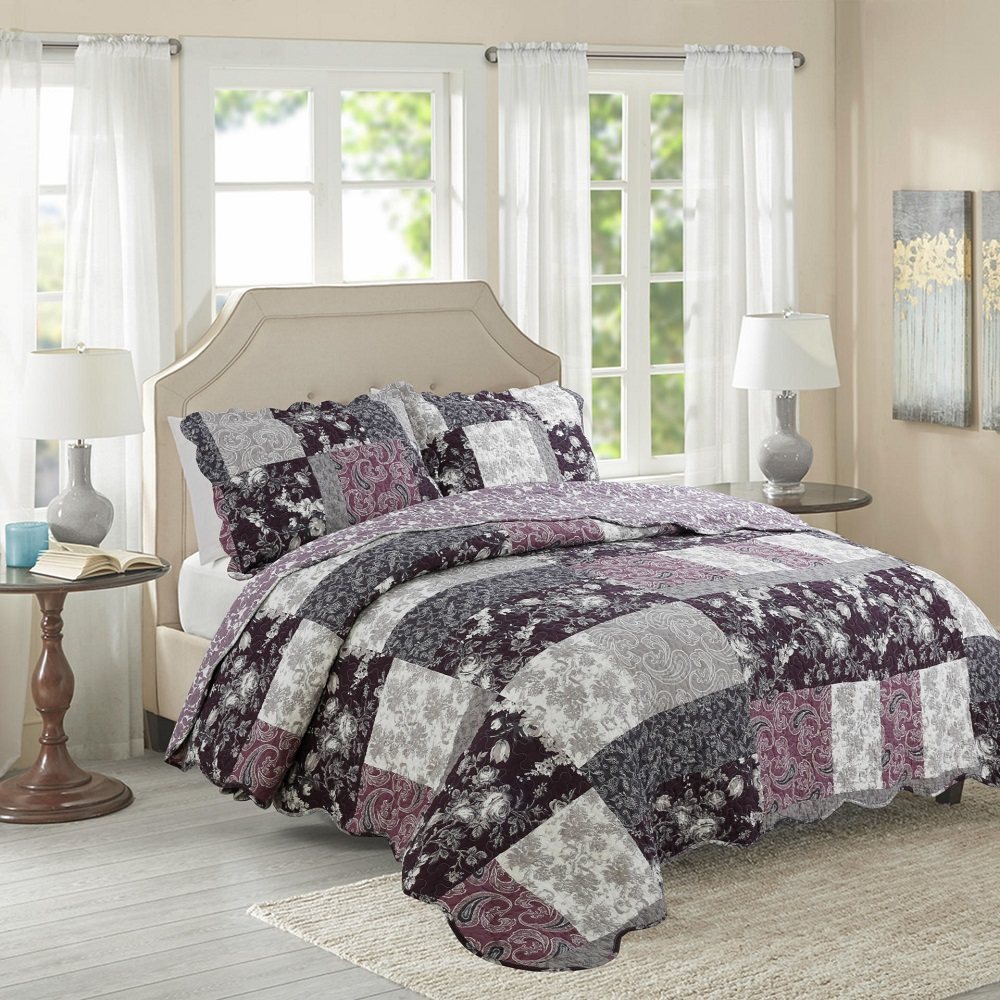 CHAUSUB Purple Printed QUILT Set 3PCS Cotton Quilts Quilted ... : super king quilted bedspreads - Adamdwight.com