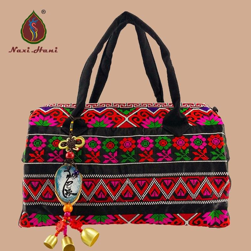 Bohemia cross stitch canvas women handbag National retro large size travel Inclined bags brand bags