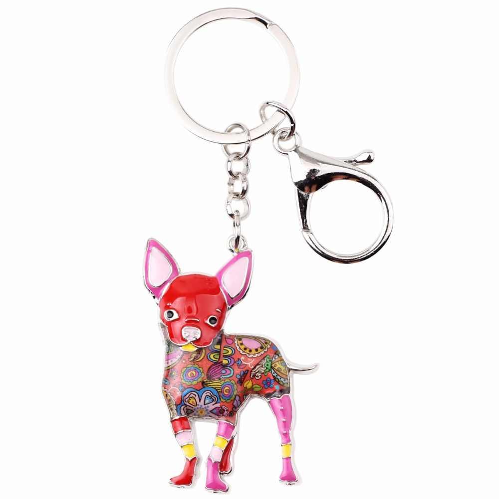 Bonsny Esmalte Liga Bonito Cão Chihuahuas Chave Chaveiros Cadeia Anel de Presente Para As Mulheres Meninas Saco Carro Pingente Jóia Da Forma Animal nova