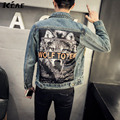 2016 New Tide Fashion Clothing Printing Wolf Denim Jacket Men Fit Vintage Mens Coat High Quality Casual Jeans Size M-5XL