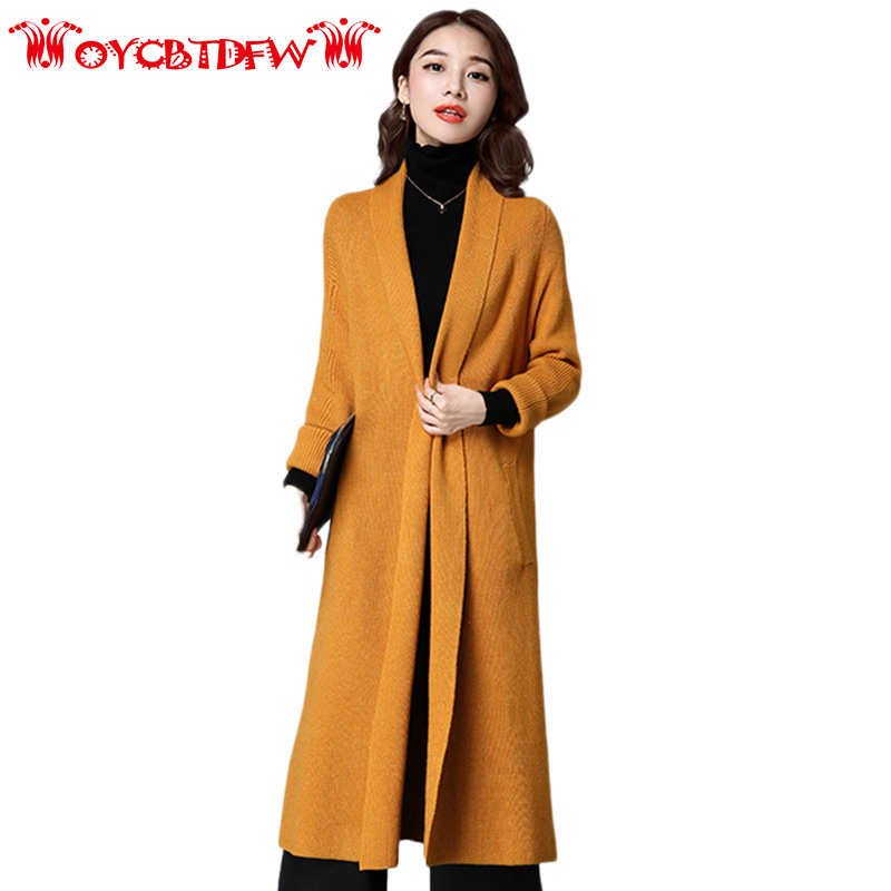 Winter Women Cardigan Coat 2018 Loose New Pure Color Large Size Medium Long Section Scarf Collar Thickening Women Sweater Ll145