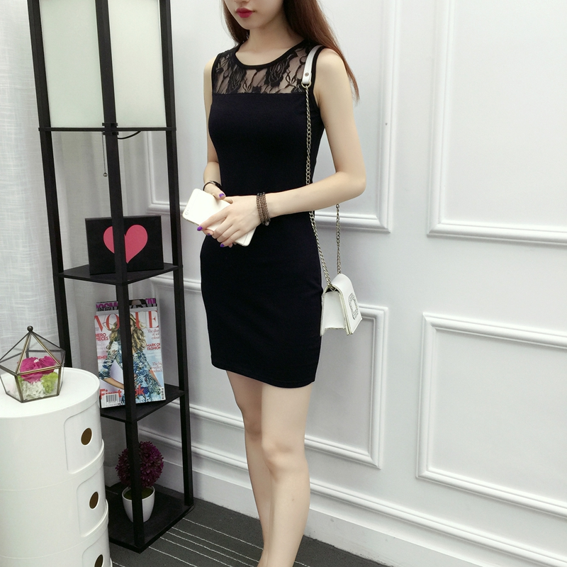 JSMY 2019 New Summer Dress Lace Female Bottoming Slim Pack Hip Large Size Mesh Splice Dress in Dresses from Women 39 s Clothing