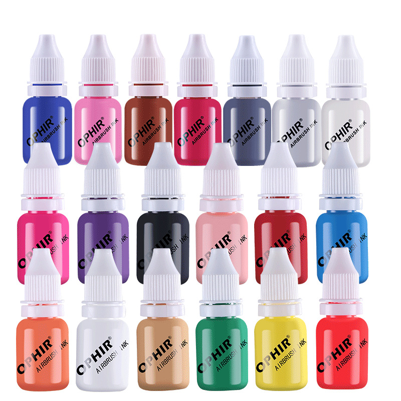 10ML Acrylic Paint Ink 12/19 Colors Airbrush Nail Inks Water Pigments Airbrush Nail For Spray Art Supplies