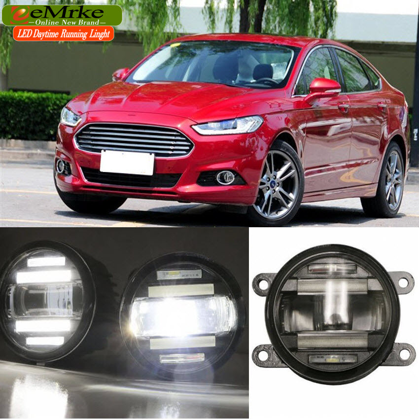 eeMrke Car Styling For Ford Fusion Mondeo 2013 2014 2015 2016 2 in 1 LED Fog Light Lamp DRL With Lens Daytime Running Lights eemrke car styling for opel zafira opc 2005 2011 2 in 1 led fog light lamp drl with lens daytime running lights