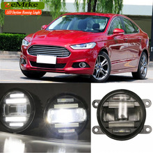 eeMrke Car Styling For Ford Fusion Mondeo 2013 2014 2015 2016 2 in 1 LED Fog Light Lamp DRL With Lens Daytime Running Lights