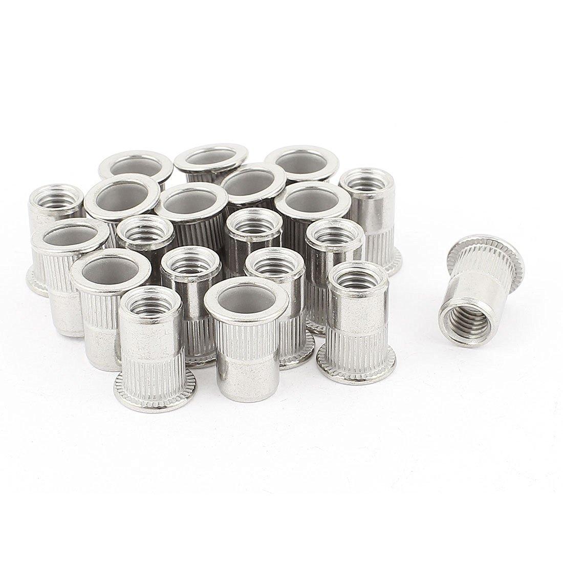 20 Pcs 304 Stainless Steel Rivet Nut Insert M8x18mm Silver