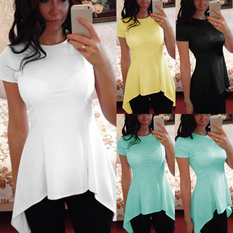Celmia Sexy Peplum Tops Women Blouse 2018 Summer O Qeck Short Sleeve Slim Fitness Casual Tunic Blusa Feminina Plus Չափ վերնաշապիկներ