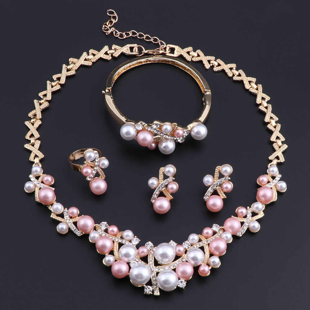 OEOEOS New Arrival Gold color Crystal Pink White Pearl Necklace Jewelry Set Women Imitation Wedding Fashion Pearl Jewelry