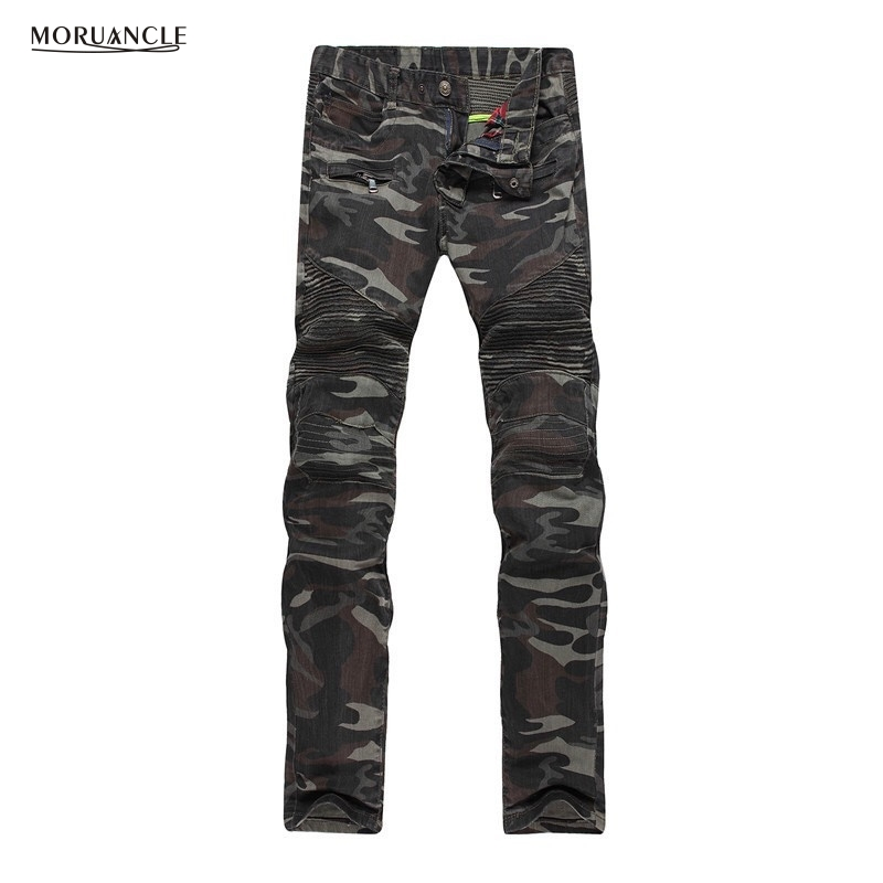 Fashion Men Camouflage Biker Jeans Joggers Slim Fit Straight Moto Denim Trousers Military Style Stretchy Jeans Pants With Zipper 2017 fashion patch jeans men slim straight denim jeans ripped trousers new famous brand biker jeans logo mens zipper jeans 604