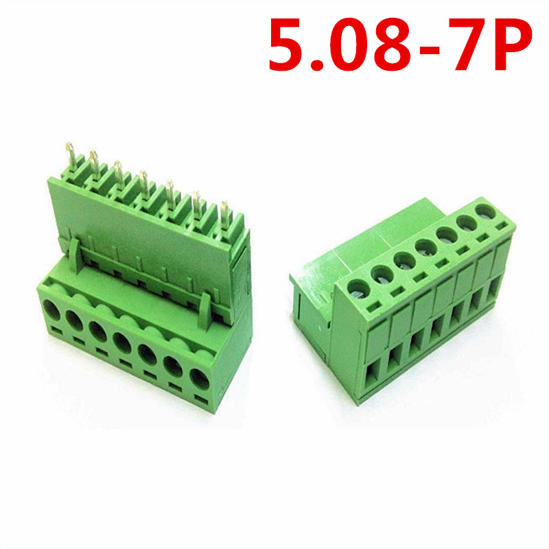 10sets 7Pin PCB Electrical 5.08mm Pitch 300V 10A Plug-in Straight pin Green connector screw terminal block Pin header and socket