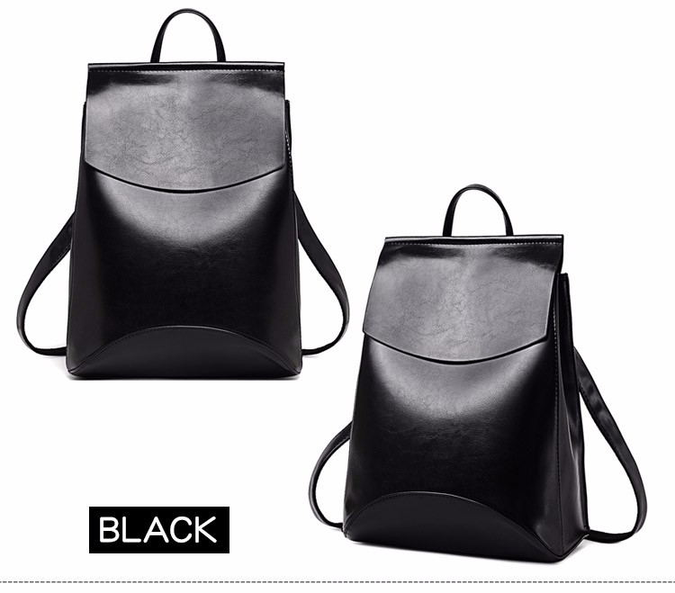 Fashion Women Backpack High Quality Youth Leather Backpacks for Teenage Girls Female School Shoulder black