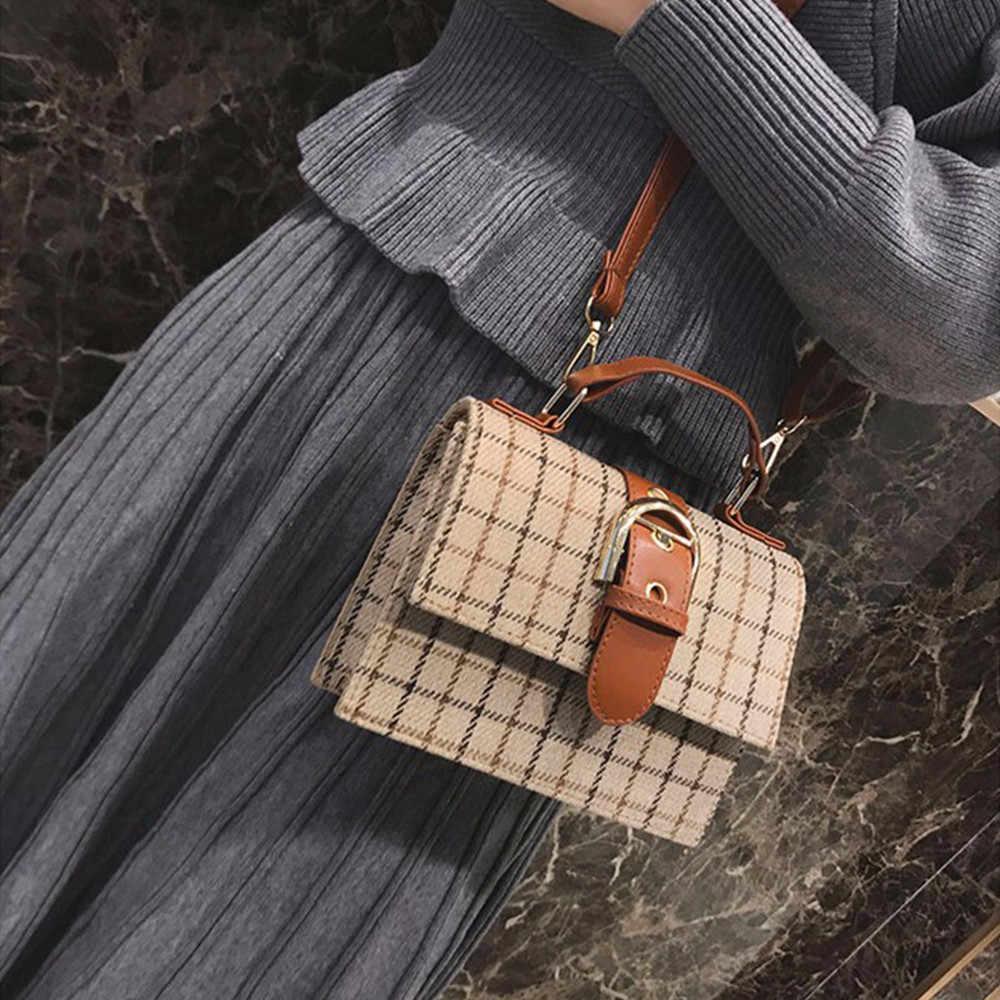 Der frauen Umhängetasche Fashion Kleine Taschen Wilden Plaid Streifen Wolle Gürtel Schnalle Messenger Schulter Taschen Bolso Mujer # LL
