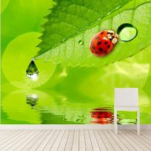 Large murals,Ladybugs Water Drops Foliage Animals wallpapers,living room tv sofa wall wallpaper for walls 3d papel de parede(China)