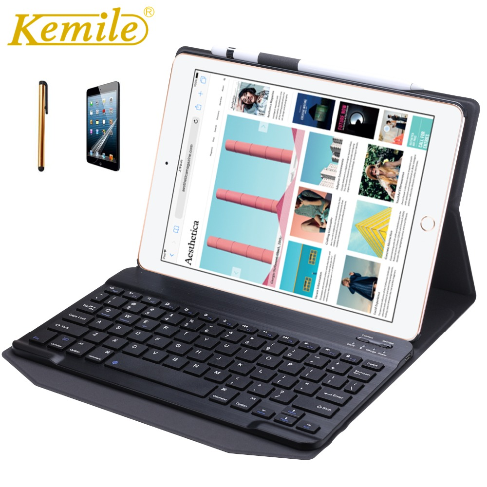 Kemile Case For iPad 2018 9.7 W Removeable wireless Bluetooth 3.0 Keyboard Smart Cover for New iPad 2017 2018 A1893 A1954 Case