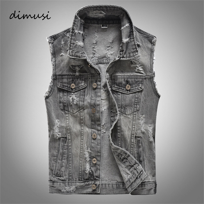 DIMUSI Spring Autumn Vintage Design Mens Denim Vest Male Retor Sleeveless Jackets Men Ripped Hole Jean Waistcoats Clothing 5XL