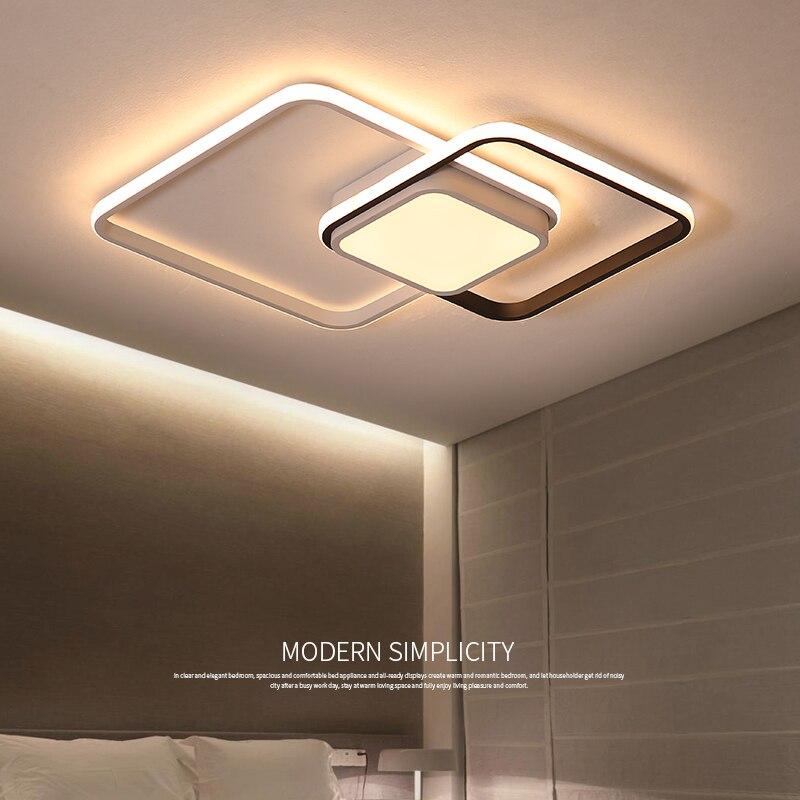 Lustre éclairage pour salon chambre Rectangle en aluminium plafond lustre lumières Lustres 90-265V lustre pour chambres