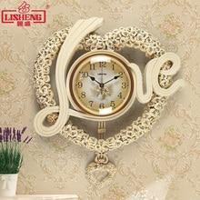 ФОТО tuda resin wall clock  love shaped watch swing wall clock modern creative style mute quartz clock home decor for living room